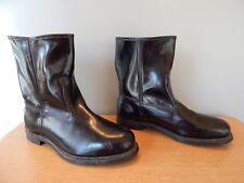 Vintage 1970s Knapp Good Year Black Leather Boots Steel Toe Engineer Roper Men 9