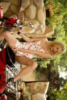 "24""x36""  Poster Naked Bike Ride, Sexy blonde spread legs scooters upskirt"