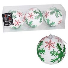 3 Pack 80mm White Glitter Baubles with Green Snowflakes Christmas Decoration