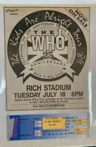 THE WHO Unused 1989 Ticket BUFFALO NY Rich Stadium & NEWSPAPER AD Pete Townshend