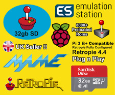 Retropie 32gb Tarjeta Micro SD para Raspberry Pi 2,3 y 3b+ Retro Games & Kodi Arcade