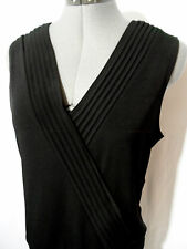 INVESTMENTS Pleated Pintucked Tank Top S Black V neck blouse Banded hem Dressy