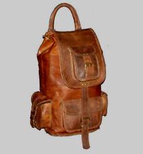 Vintage Leather Backpack Women Messenger Brown Shoulder Laptop Rucksack Bag