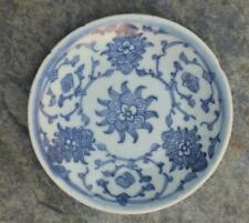 Chinese Ming  Porcelain Saucer Dish with Stylised Scrolls & Flowers - Date Mark