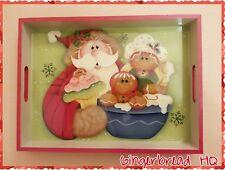HP Santa and  Gingerbread wooden serving tray,Christmas Decor, Holidays, Kitchen