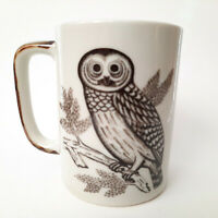 Vintage Owl Coffee Cup Mug Brown Embossed 70's Retro