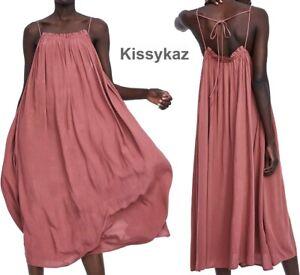 ZARA Brick Pink Flowing Strappy Slip Midi Dress M to fit 14 BNWT