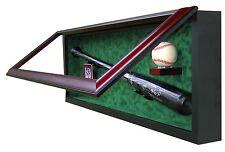 BASEBALL BAT, BASEBALL AND CARD DISPLAY CASE - SPORTS DISPLAY CASE