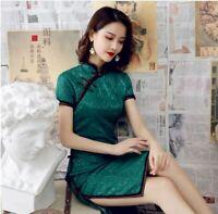 New Luxurious Royal Green Chinese Short Lace Dress Cheongsam Qipao lcdress83