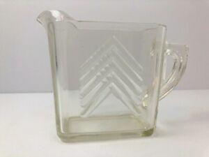 Vintage Hazel Atlas Glass Creamer Chevron Rare Pattern