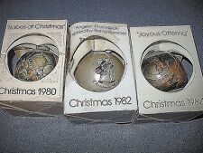 """3"" Schmid Collectors Galery Ornaments Christmas 1980, 1982, 1984"