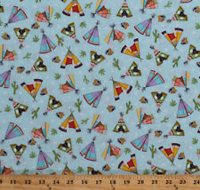 Tepees Tents Cactus Cacti Southwestern Blue Cotton Fabric Print BTY D773.13