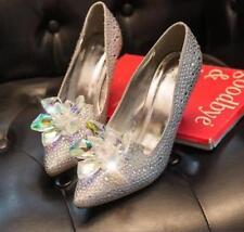 Womens Sexy Party Bride High Heels Shoes Cinderella crystal Diamond Pumps #SP12