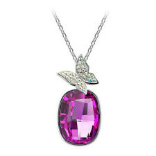 Silver Plated Pink Crystal Butterfly Necklace with Chain
