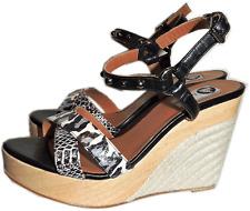 $790  LANVIN Animal Print Ankle Studded Wedge Sandal Slingback Pump Shoes 39