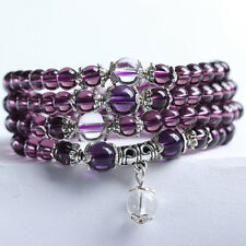 Bracelet en pierre naturelle quartz pourpre, perles de 6 mm, long : 72 cm, neuf