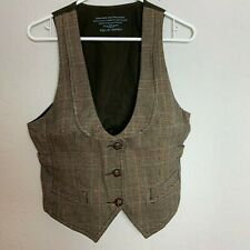EDC by Esprit Womens Brown Plaid XL Cotton Vest Made In Germany
