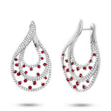 Unique 2.42 TCW 14K Rose Gold Natural Round Diamond Ruby Teardrop Earrings