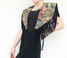 Vintage Vtg 1970s 70s Western Woven Tapestry Caplet Vest with Black Fringe