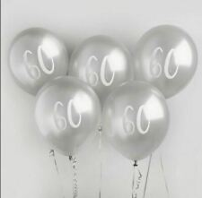 NEW SILVER LARGE 60TH BIRTHDAY BALLOONS 5 PACK ANNIVERSARY PARTY DECORATION