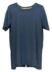 Isaac Mizrahi Live! Women's Plus Top Sz 1X Pima Cotton V-Neck Tulip Blue A379612