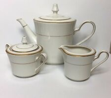 Noritake Ivory China Linton Teapot Creamer & Sugar Bowl 7552 Gold Trim - Japan