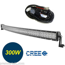 52in Curved Off Road 300W CREE LED Lamp Work Light Bar SUV Jeep 4WD +RELAY