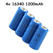 4x 1200Mah 16340 CR123A Rechargeable Li-ion Battery For LED Flashlight Torch
