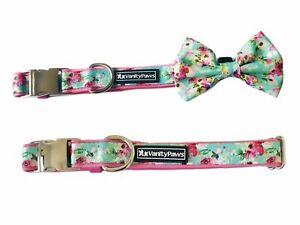 girls floral flower collar wedding metal buckle dog puppy small medium large