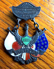 1909 JAPAN STERLING SILVER & ENAMEL MEDAL HONORARY COMMISSIONER VISIT TO USA