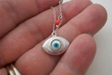 sterling silver necklace zombie EYEBALL pendant turquoise eye charm with chain