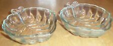 Clear Glass Leaf Dishes Set of 2