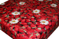 Wipe Clean PVC Tablecloth Oilcloth Vinyl Fabric - Summer Red Strawberries