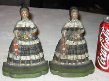 Antique Bradley Hubbard Southern Bell Lady Bonnet Dress Cast Iron Art Bookends