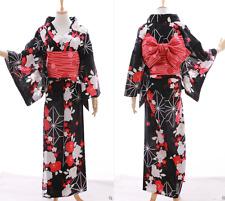 K-026 NERO BIANCO ROSSO FLOWER FIORI ORIGINALE Giappone Kimono Yukata cintura obi