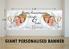Personalised GIANT Large 15th Crystal Wedding Happy Anniversary Banner N45