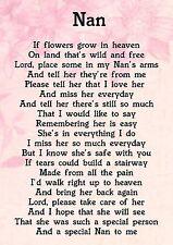 Nan Memorial Graveside Poem Keepsake Card Includes Free Ground Stake F43
