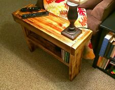 Fire Scorched Rustic Reclaimed Wood End Tables - Set of 2