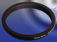 57mm-52mm 57-52 filtro anillo adaptador convierte Tickets Lente Rosca A 52mm Reductor
