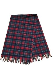"New Pendleton? Red Plaid 100% Pure Virgin Wool Scarf Size: 48"" w/ fringe x 13.5"""