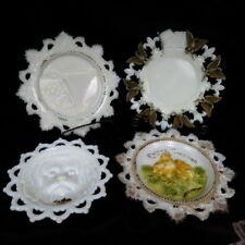 4 1880s EAPG Milk Glass figural plates / Niagra Falls / Easter / Patriotic /Lion