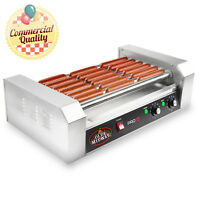 Commercial Electric 18 Hot Dog 7 Roller Grill Cooker Machine 900-Watt