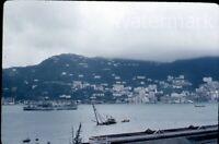 1950s red border  kodachrome Photo slide Hong Kong Military Navy ship