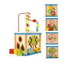 Baby Wooden Activity Cube Toy Small Play Centre Children Learning Bead Maze