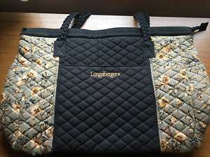 NEW HUGE 20x14x6 Longaberger QUILTED Welcome Home FALL COLORS ZIP TOP Tote Bag