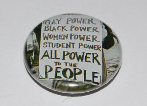 ALL POWER TO THE PEOPLE FIST 25MM / 1 INCH BUTTON BADGE GAY - BLACK - WOMEN