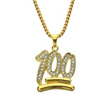 """Gold Keep it 100 Iced Out Hundred Hunnid Pendant 28"""" Link Chain Necklace Emoji"""