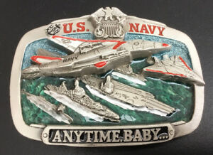 US Navy United States  Pewter Belt Buckle Anytime Baby (serial No: 1072)