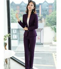 Women One Button Long Sleeve Slim 2 Pcs/set Formal Workwear Trousers Suit Jacket