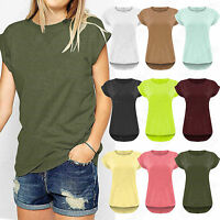 WOMENS PLAIN DIP HEM TURN UP SLEEVE BOYFRIEND LOOK TEE LADIES LOOSE TOPS T-SHIRT